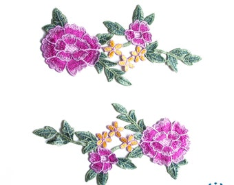 Floral embroidered applique pink