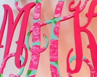 Wooden Monogram - Hand Painted Lilly Pulitzer