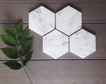SALE // Four Marble Coasters // Hexagon Marble Coasters // Set of 4 // geometric marble coasters // geometric wedding favors