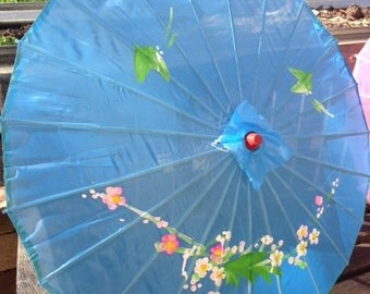 Colourful blue hand painted bamboo parasol