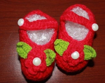 Baby Girl Crochet Shoes Red  2-8 months