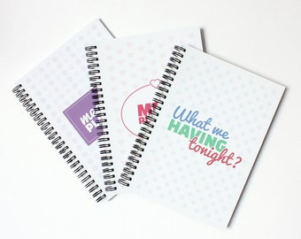 Weekly meal planner, meal planning notebook, food planner, diet, menu.