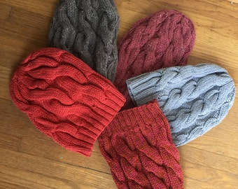 Hand Knit Classic Cable Hat