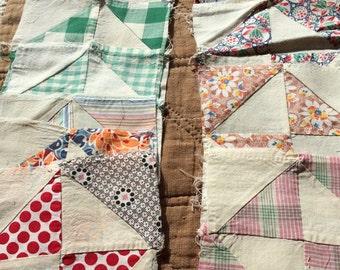 """Vintage 6"""" Quilt Squares - Antique Quilt Squares Feed Sack Primitive"""