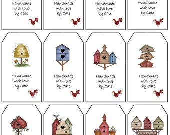 Birdhouse Gift Tags Double Sided Small - PDF FILE ONLY