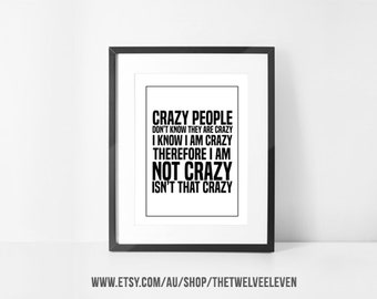 """18x24"""" JACK SPARROW CRAZY Quote Pirates of the Caribbean 1018 Wall Art Instant Download Print at Home Decor Styling Movie Quote Johnny Depp"""