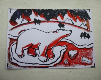 polar bear hand pulled screen print