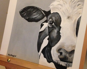 Original acrylic and ink cow painting