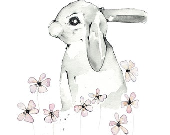 Rabbit and Pink Daisies, A4 print, 21cm x 29.5cm, unframed