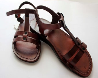 HOLYLAND Jesus Sandals , The modern leather style sandals in traditional way , also called biblical sandals,brown leather sandals for women