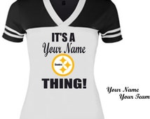 Personalized Ladies Tailgate Fan Shirt **Steelers Fan Shirt