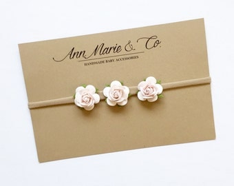 Ivory Floral Trio Bow