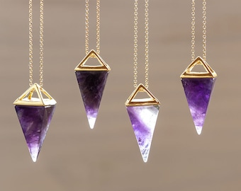 Amethyst Point Necklace Purple Amethyst Necklace Pyramid Pendant Quartz Crystal Layering Healing Crystal Yoga Pendant