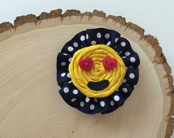 Navy blue polka dots and yellow Emoji clip/Girls clip/bow/heart shaped buttons.