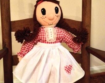 "Vintage Handmade 14"" Raggedy Anne Rag Doll"