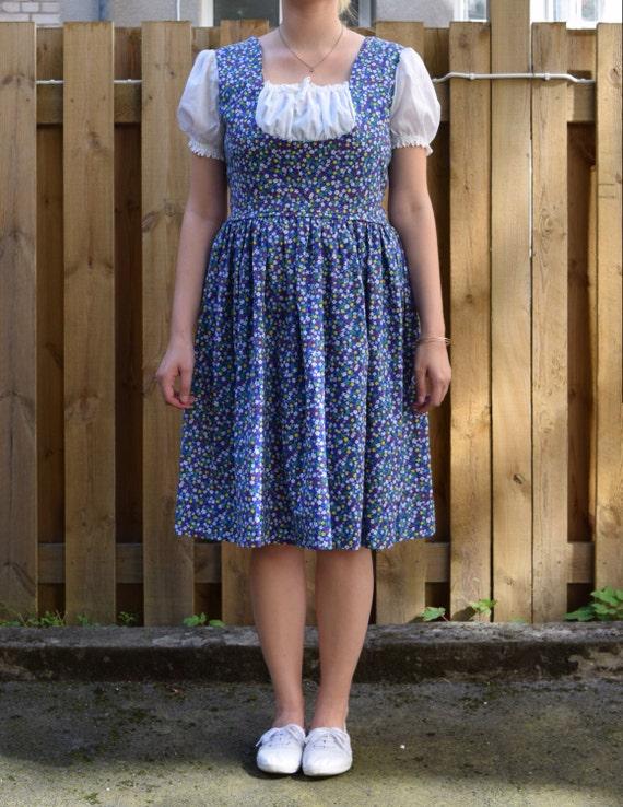 Vintage 60's dress blue flowers EA34