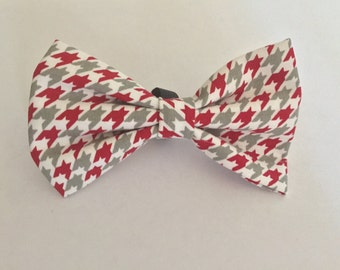 Red and Grey houndstooth dog bow tie