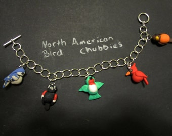 North American Birds Charm Bracelet (Or choose a bird for a necklace)