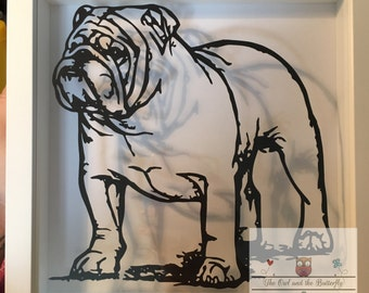 COMMERCIAL USE English Bulldog paper cutting template