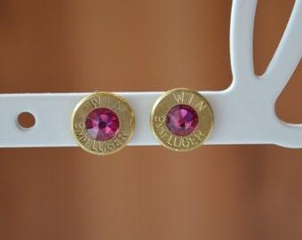 Brass 9mm Bullet Stud Earring with Fuchsia Swarovski Crystal