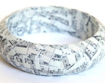 Music bangle - musical jewelry - score sheet bangle - music jewelry - decoupage bangle