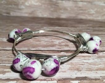 Triple Purple Flower - Wire Wrapped Bangle