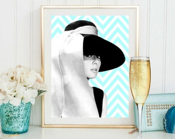 Audrey Hepburn portrait print breakfast at Tiffany's wall art Audrey Hepburn poster Audrey Hepburn art celebrity digital print gift for her