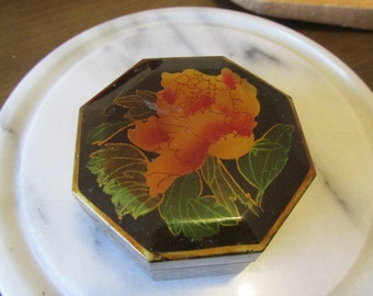 Wood and lacquer trinket box octagonal black and gold vintage 80s peony design.