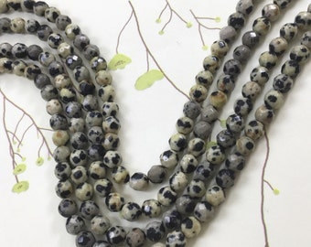 1 Full Strand 4mm Dalmatian Faceted Round Jasper Beads , Dalmatian Gemstone For Jewelry Making