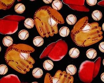 "Sports Time Baseball Glove Mitt Cap Hat 100% cotton 44"" fabric by the yard ***K18***"