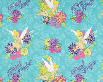 """Disney Fabric - Disney Tinkerbell Tink Petal Perfect Flower Turquoise 100% cotton 43"""" fabric by the yard, SC269"""