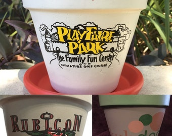 Custom Logo Hand Painted Flower Pot