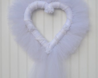 Heart Shaped Wedding Tulle Wreath