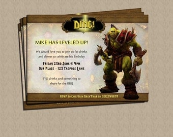 World of Warcraft Personalised Birthday Party Invite DIGITAL