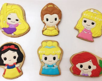 Disney Princess Cookies/ Cinderella, Snow White, Ariel, Belle, Aurora, Rapunzel Sugar Cookies (your choice)