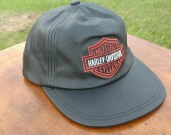 Vintage 80s 90s all black leather Harley Davidson trucker ball cap hat punk