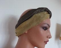 Vintage Italian Turban Headband Gold Lurex FEDRA MILANO 70s 80s Seventies Eighties Art Deco Studio 54