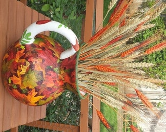 Autumn Leaves hand painted pitcher or vase