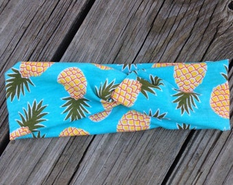 Pineapple aqua turban headband size 18-24 months