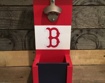 Boston Red Sox bottle opener with cap catch