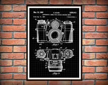 Get 5 Colors Background Zeiss Ikon Contarex Camera Patent Poster, Camera Print, gray, black, black graphic, yellow, blue Drawing Patent *15*