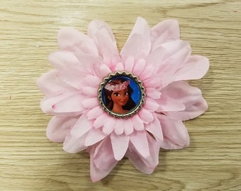 10 Pcs - Moana - Pink Flower Hair Bow Party Favors