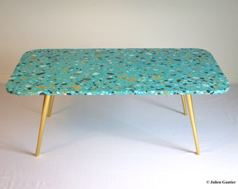 Coffee table, faux terrazzo, hand painted trompe l'oeil, gold leaf on legs