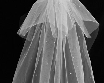 Sophie Veil-Shoulder Length/Hen party/Bridal White Illusion Tulle With Rhinestone Detail