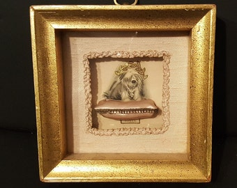 Vintage Framed Shadowbox Hand Painted 3-D Sheepdog on Satin Pillow