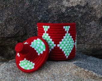 Red Berber Basket, Moroccan, Bread Warming, Storage Basket, Planter, Pot, Berber Basket/ The Blooming Loom