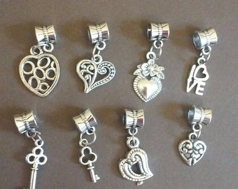 Heart and Key Charm Silver