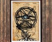 Steampunk poster Armillary print Antique art Patent print SOL39