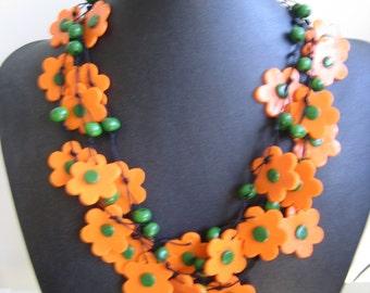 Orange and Green Flower Ceramic Necklace