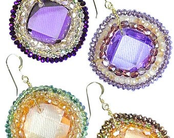 Gold Filled Wire Color CZ, Crystal Earrings